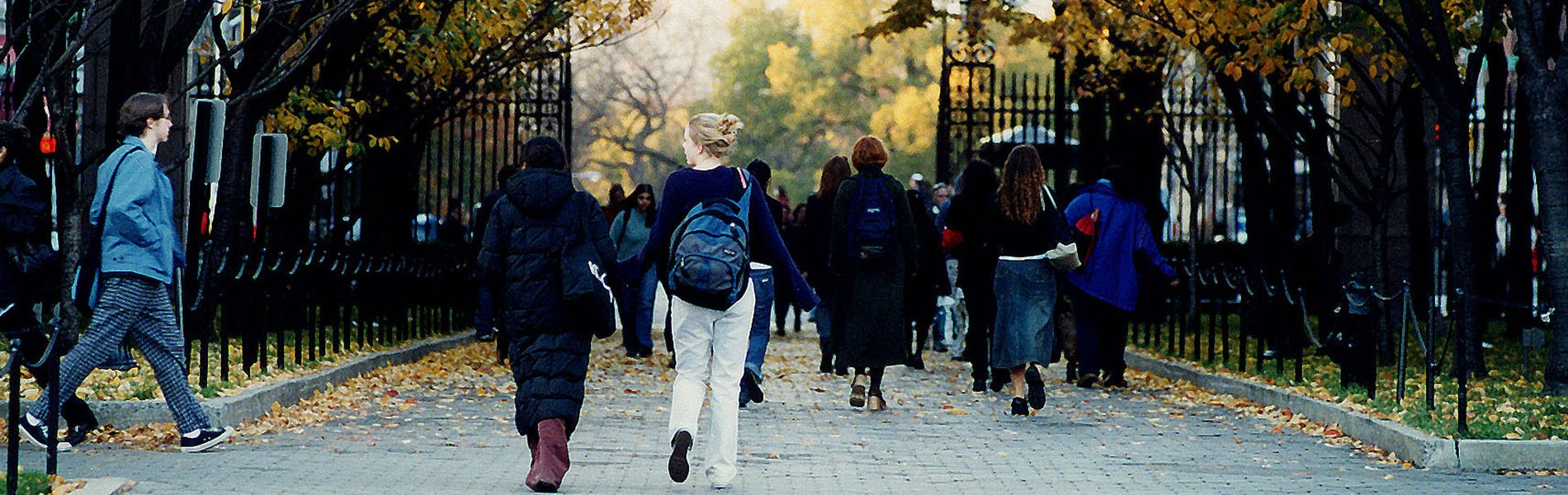 Students walk on campus along College Walk