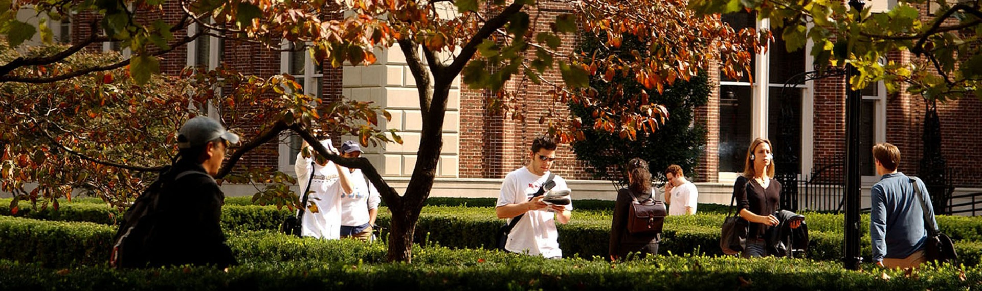 Students walk on campus along hedge-lined cobblestone paths