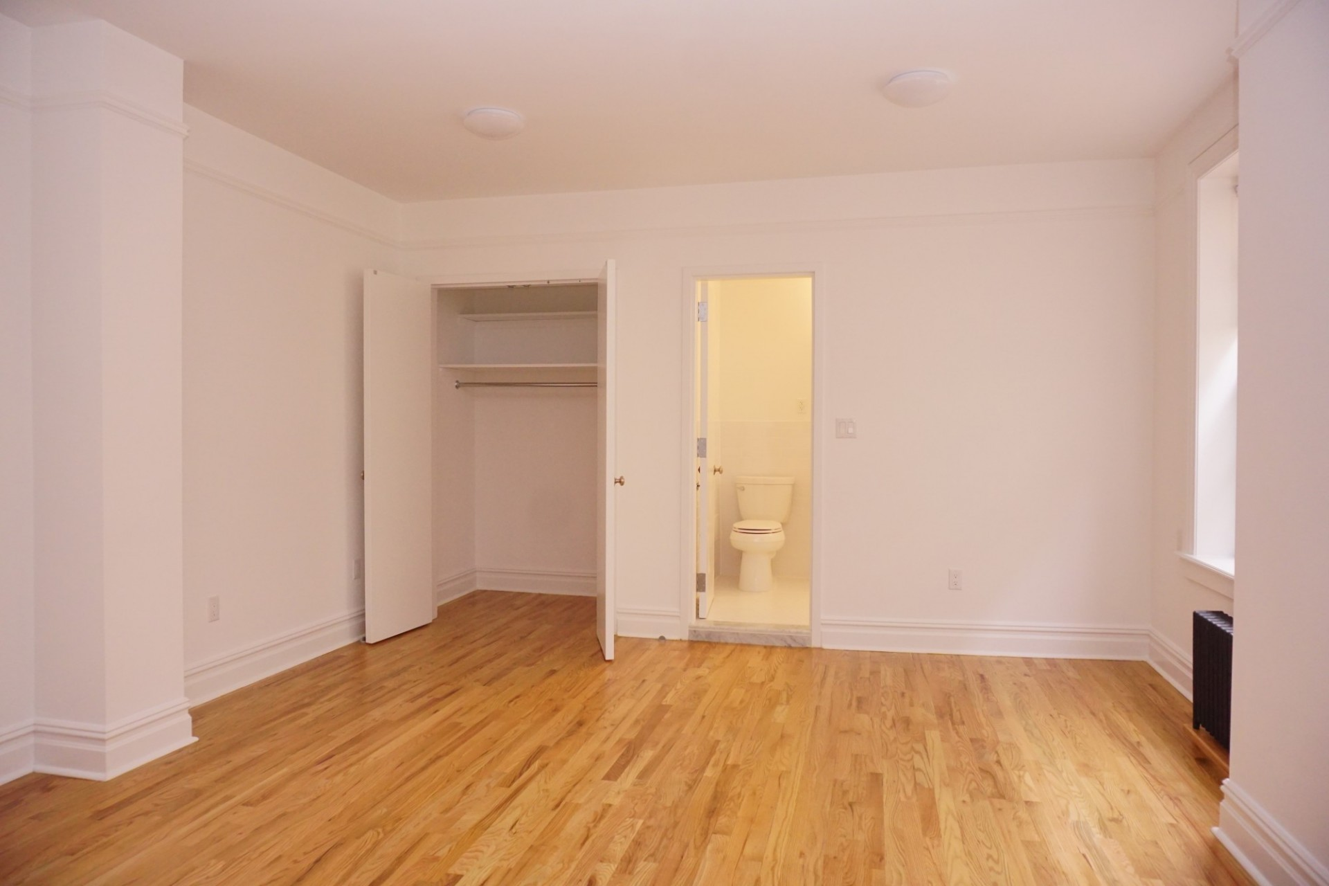 Example of a studio apartment - closet, living space and bathroom view